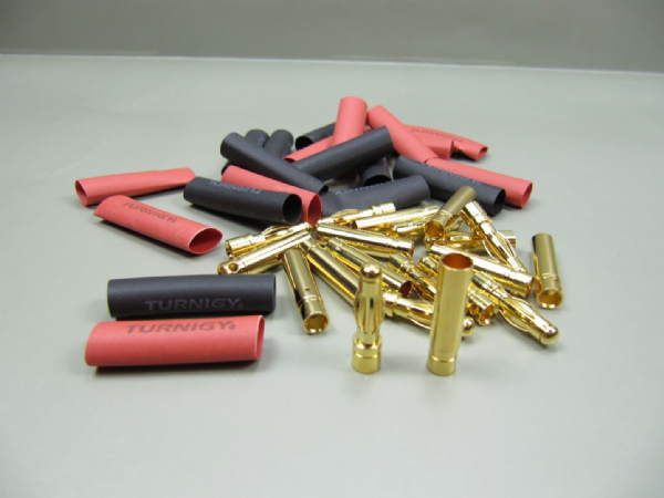 4mm bullet connectors with heat shrink (10 pairs set )